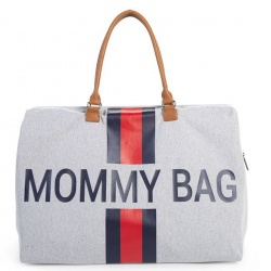 ChildHome - Childhome Mommy Bag - Canvas Grey Stripes reed/blue