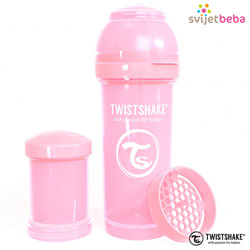 Hranjenje - Twistshake Anti-Colic 260ml - Pastel Pink