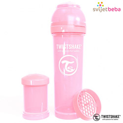 Hranjenje - Twistshake Anti-Colic 330ml - Pastel Pink