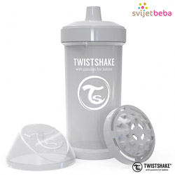 Hranjenje | Bočice Sippy Cups | Twistshake Kid Cup 360ml, 12+mj - Pastel Grey