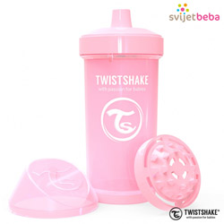 Hranjenje | Bočice Sippy Cups | Twistshake Kid Cup 360ml, 12+mj - Pastel Pink